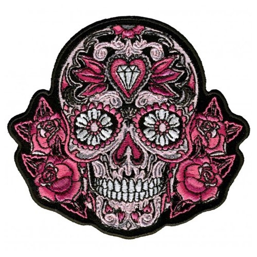 Pink Sugar Skull And Roses Embroidered Patch