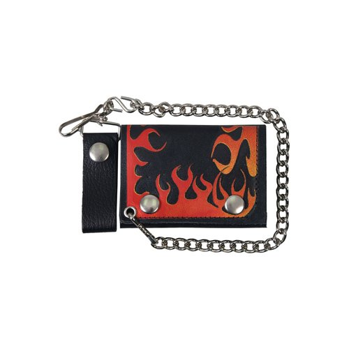 Black Tri-Fold 4 Inch Flame Leather Wallet