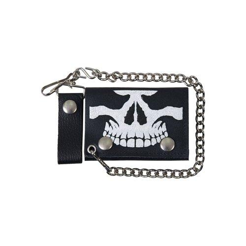 Black 4 Inch Tri-Fold Skull Leather Wallet