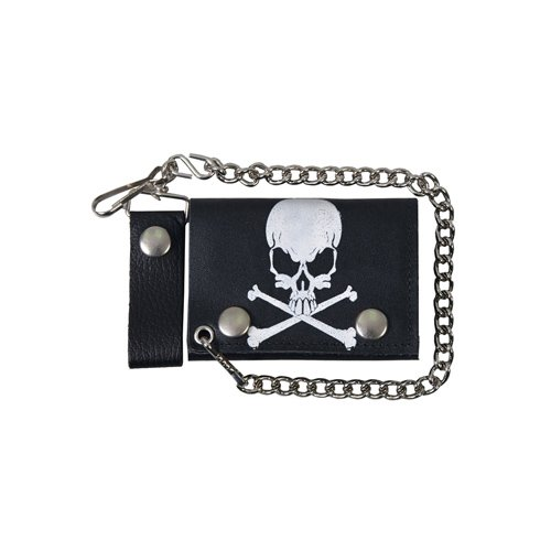 Black Tri-Fold 4 Inch Skull And Crossbones Leather Wallet