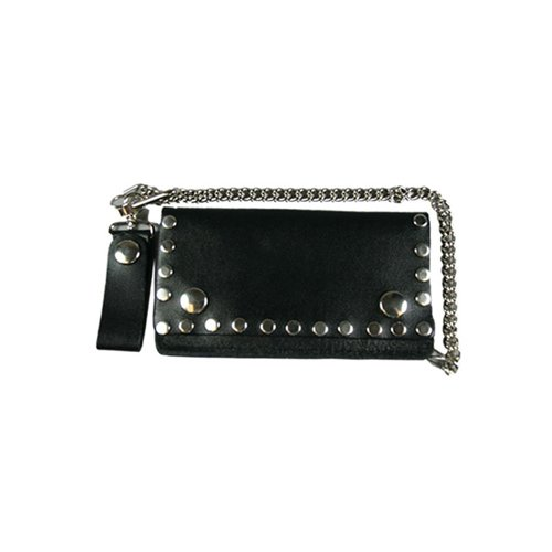 Black Bi-Fold 6 Inch Leather Wallet with Rivets