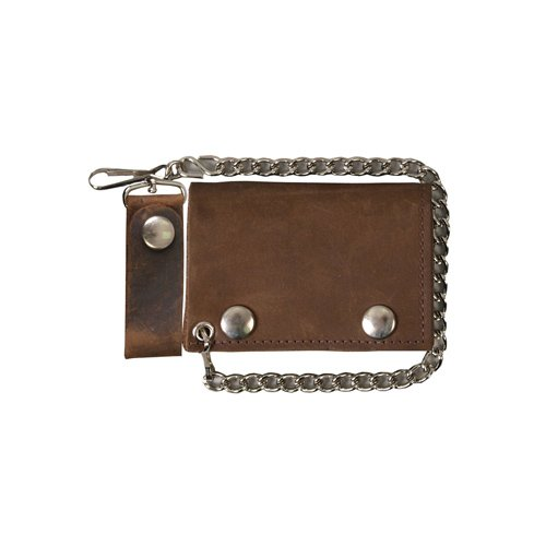Distressed Brown 4 Inch Trifold Leather Wallet