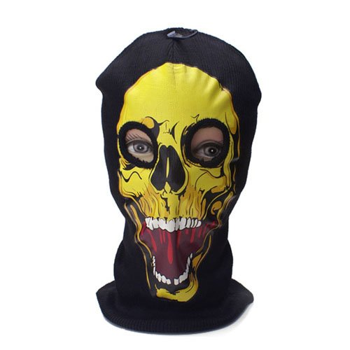 Yellow Skull Print Beanie Mask