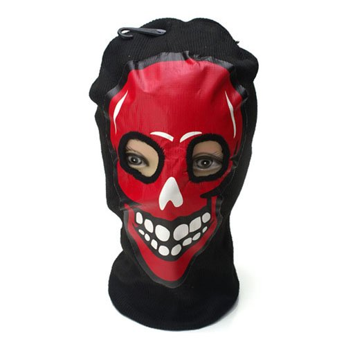 Red Skull Print Beanie Mask