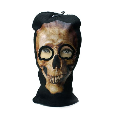Brown Skull Print Beanie Mask