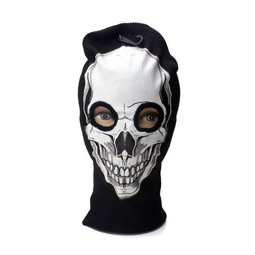 White Skull Print Beanie Mask