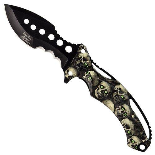 Dark Side Blades Folding Knife - Skull Skin Handle