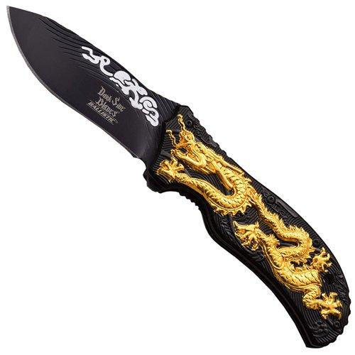 Dark Side Aluminum Handle Folding Knife with Dragon Art