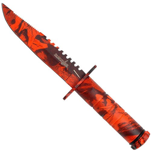 HK-690 4.25 Inch Blade Survival Knife w/ Survival Kit and Compass