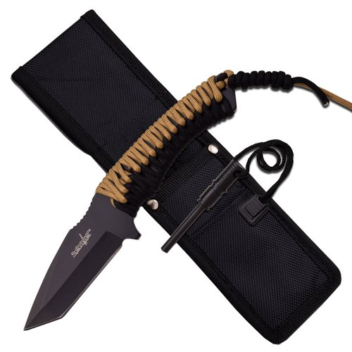 Survivor Black Tanto Blade Fixed Blade Knife