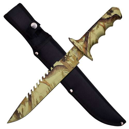 Jungle Master Rubber Handle Fixed Blade Knife w/ Sheath