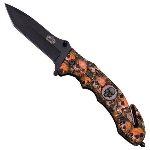 Master USA Skull Logo Handle Folding Knife