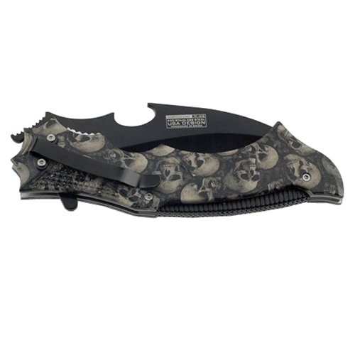 Tac-Force Grey Skull Pattern Handle Folding Knife