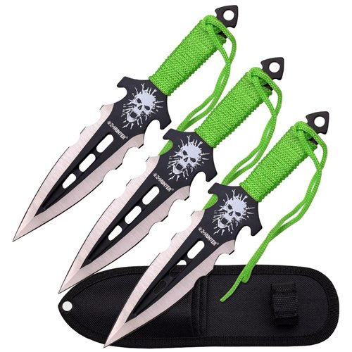 Z Hunter Green Cord Wrapped Handle Throwing Knife Set