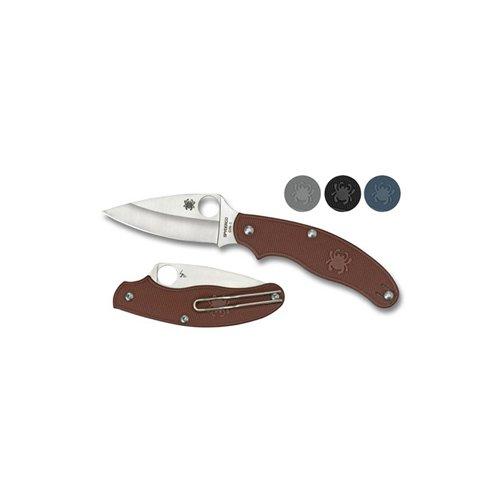Spyderco UK Penknife Gray FRN Leaf Blade Plain Edge Folding Knife