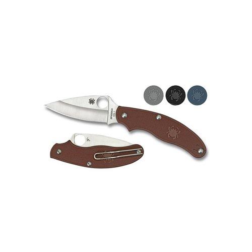 Spyderco UK Penknife Blue FRN Leaf Blade Combo Edge Folding Knife