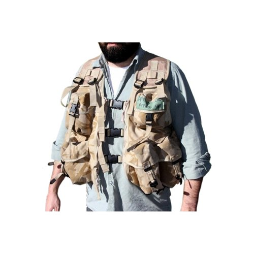 Used British Desert Combat Vest W/Attached Pouches