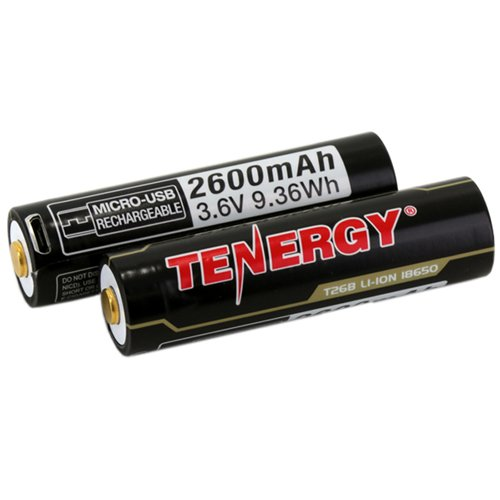Tenergy Li-ion 18650 2600mAh W/ Micro-USB Charging Port 2-Pack