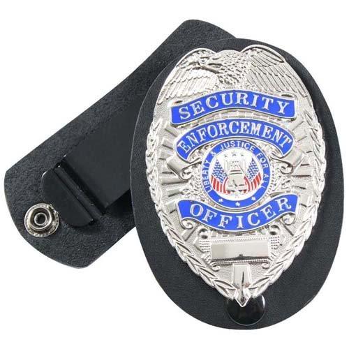 Swivel Snap Leather Clip-On Badge Holder
