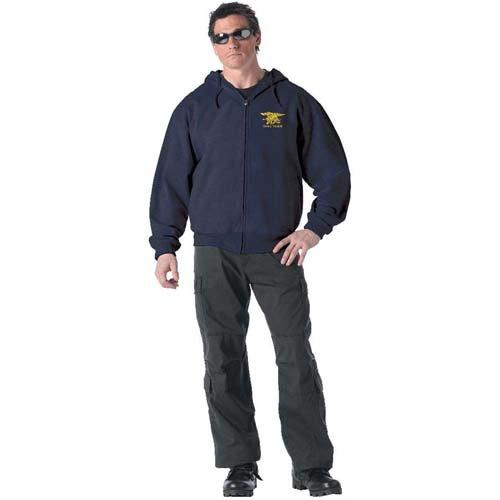 Ultra Force Zipper Hoodie W Navy Seal Trident - Navy