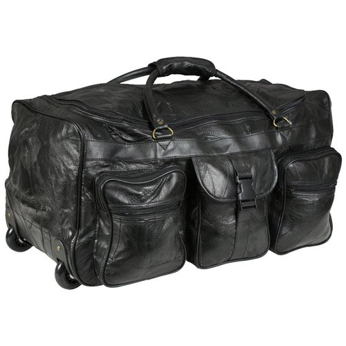 Leather patchwork wheeled duffle bag for Leather luggage wheeled duffel
