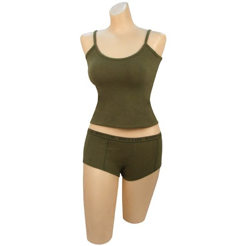 Womens Olive Drab Booty Camp Booty Shorts