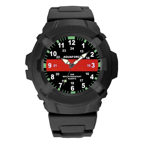 Aquaforce 50m Water Resistant Thin Red Line Watch
