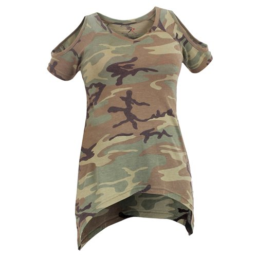 Women Camo Cut-Outs Cold Shoulder Top