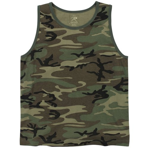 Mens Vintage Woodland Camo Tank Top