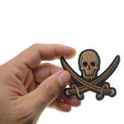 3x2.25 Inch Pirate Sword Skull Patch