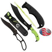 Zombie Swabbie Toxic Green Handle Fixed Blade Knife