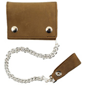 Tri-Fold Leather Chain Wallet