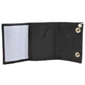 Tri-Fold Leather Chain Wallet with Coin Pocket