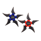 Perfect Point 4 Inch Throwing Stars 2 Pieces Set - Blue Red