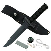 CK-086 Metal Handle Fixed Blade Survival Knife w/ Leather Sheath