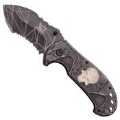Dark Side Half Serrated Stonewash Blade Folding knife