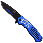 Dark Side Black Blades w/ Falming Design Folding Knife