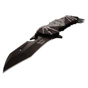 Dark Side Blades Bat Art Aluminum Handle Folding Knife