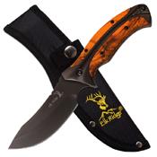 Elk Ridge Damascus Pattern Blade W/ Maple Wood Handle Fixed Knife