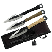 Two Tone Survival Spear Blade 3 Pcs Throwing Fixed Knife Set