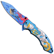 Masters Collection Heat Transfer Color Graphic Blade Folding Knife