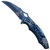 Masters Collection Laser Etch Titanium Coated Folding Blade Knife