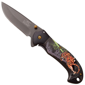 Masters Collection Embossed Tiger on Handle Folding Knife