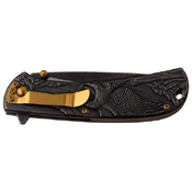 Masters Collection 3D Sculpted Stainless Steel Handle Folding Knife