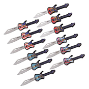 MTech USA MT-1038POP Embossed Printed Folding Knife Set - 12 Pcs