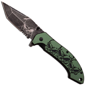 MTech USA MT-A903TQ Stonewash Skull Pattern Spring Assisted Knife