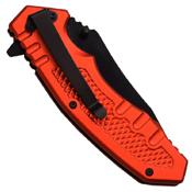 MTech USA Orange And Black Tanto Folding Knife
