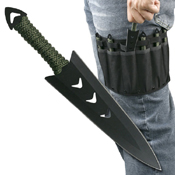 Perfect Point Black Blade 6.5 Inch 6 Piece Set Throwing Knife