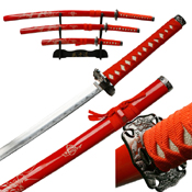 YK-58RD4 Satin Blade 3 Pcs Sword Set with Red Scabbard