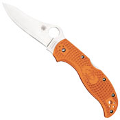 Spyderco Stretch Folding Knife With Satin Blade And Burnt Orange FRN Handles